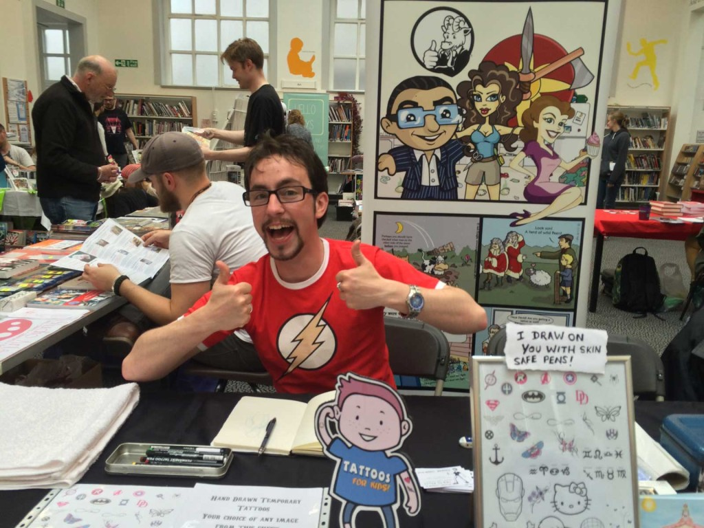 Lancaster Guardian cartoonist Jack Knight at Lancaster Comics Day 2015. Photo: John Freeman