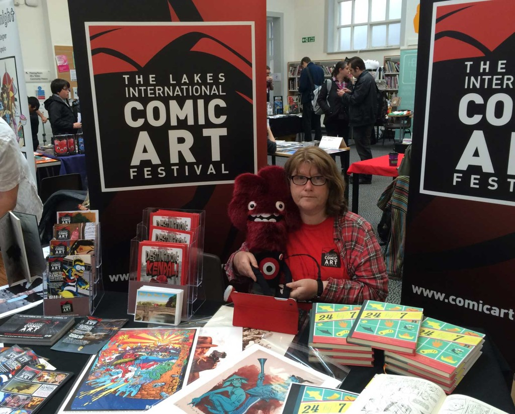 Sharon Tait and Poblin, busy plugging the Lakes International Comic Art Festival, which takes place in Kendal in October.
