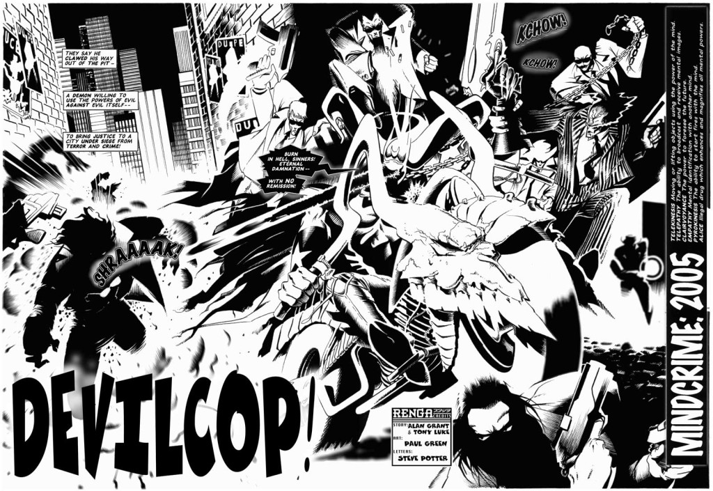 """The opening spread of """"Devil Cop"""", written by Alan Grant and Tony Luke, drawn by Paul Green."""