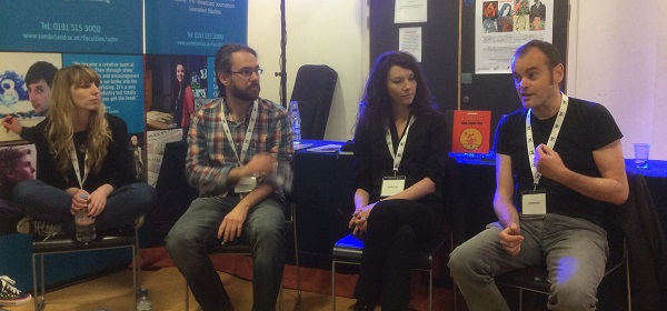 Laura Trinder, Matt Gibbs, John Chalmers during the relaxed Young Adult discussion at Wonderlands 2015. Photo: John Swan