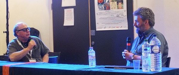 Old friends Hunt Emerson and Steve Bell talk through Steve's career at Wonderlands 2015. Photo: Jeremy Briggs