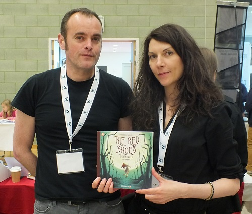 John Chalmers and Sandra Marrs of Metaphrog show off a pre-publication version of their new GN due later in the year, The Red Shoes at Wonderlands 2015. Photo: Jeremy Briggs