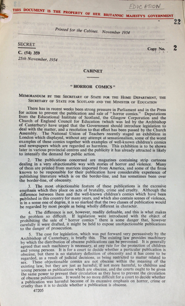 The memo circulated in secret in government ministers noting concerns from various organisations about imported US comics.