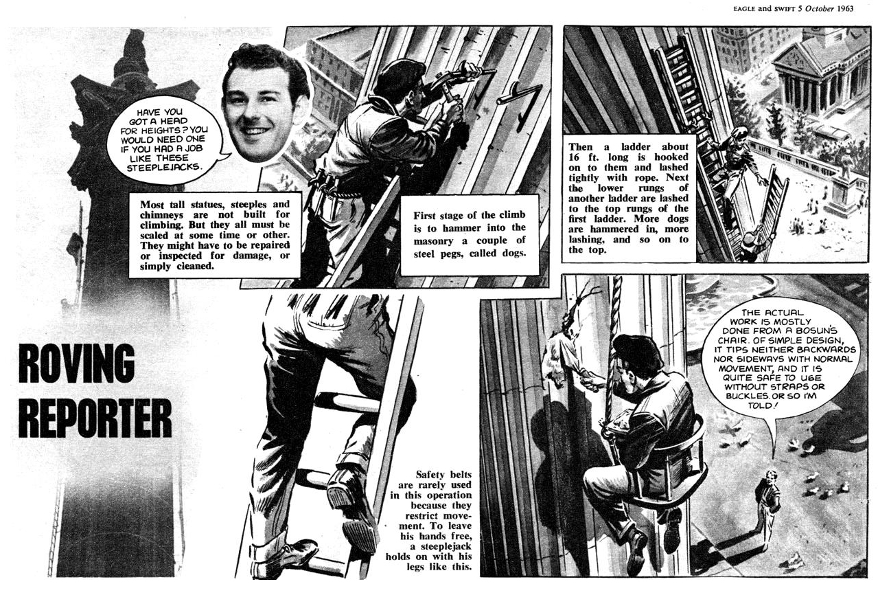 "A half page Roving Reporter strip from a 1963 issue of Eagle featuring Roger Perry's alter ego, ""Larry Line"""