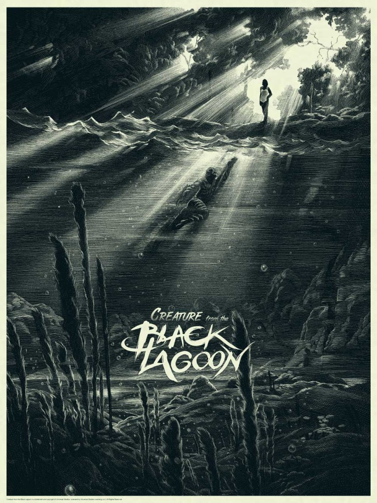 Creature from the Black Lagoon variant print by Nicolas Delort. Image courtesy Dark Hall Mansion