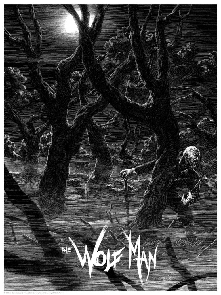 The Wolf-Man print by Nicolas Delort. Image courtesy Dark Hall Mansion