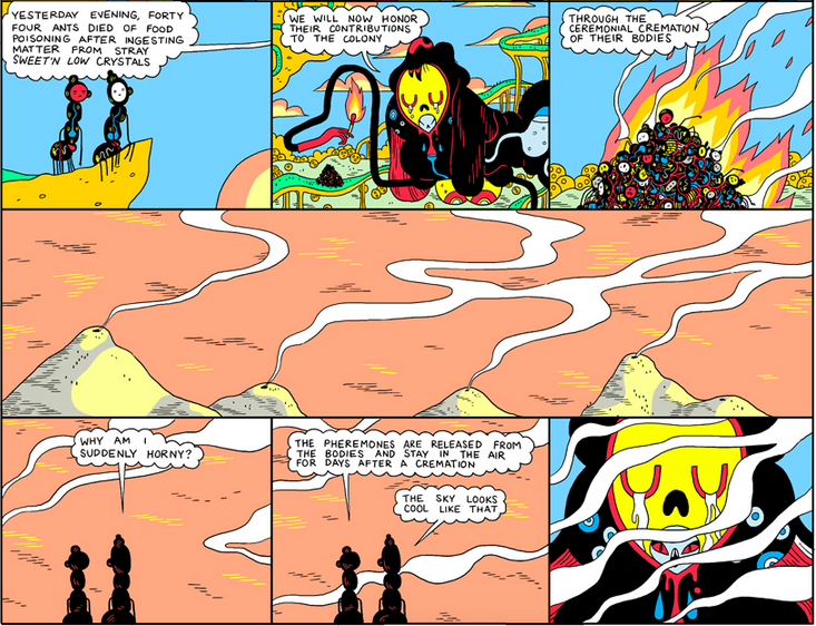 "Art from Michael DeForge's vibrant tale ""Ant Colony"", which you can read on his web site."