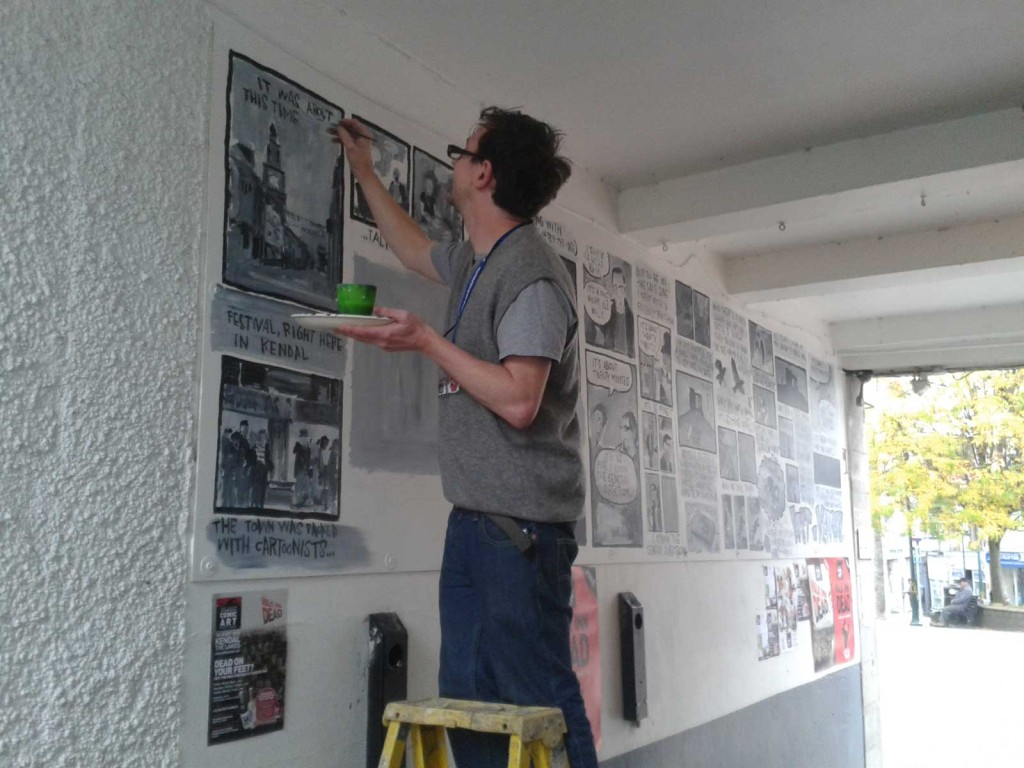 Joe Decie at work on his mural for the Lakes International Comic Art Festival 2015. Photo: Norman Boyd