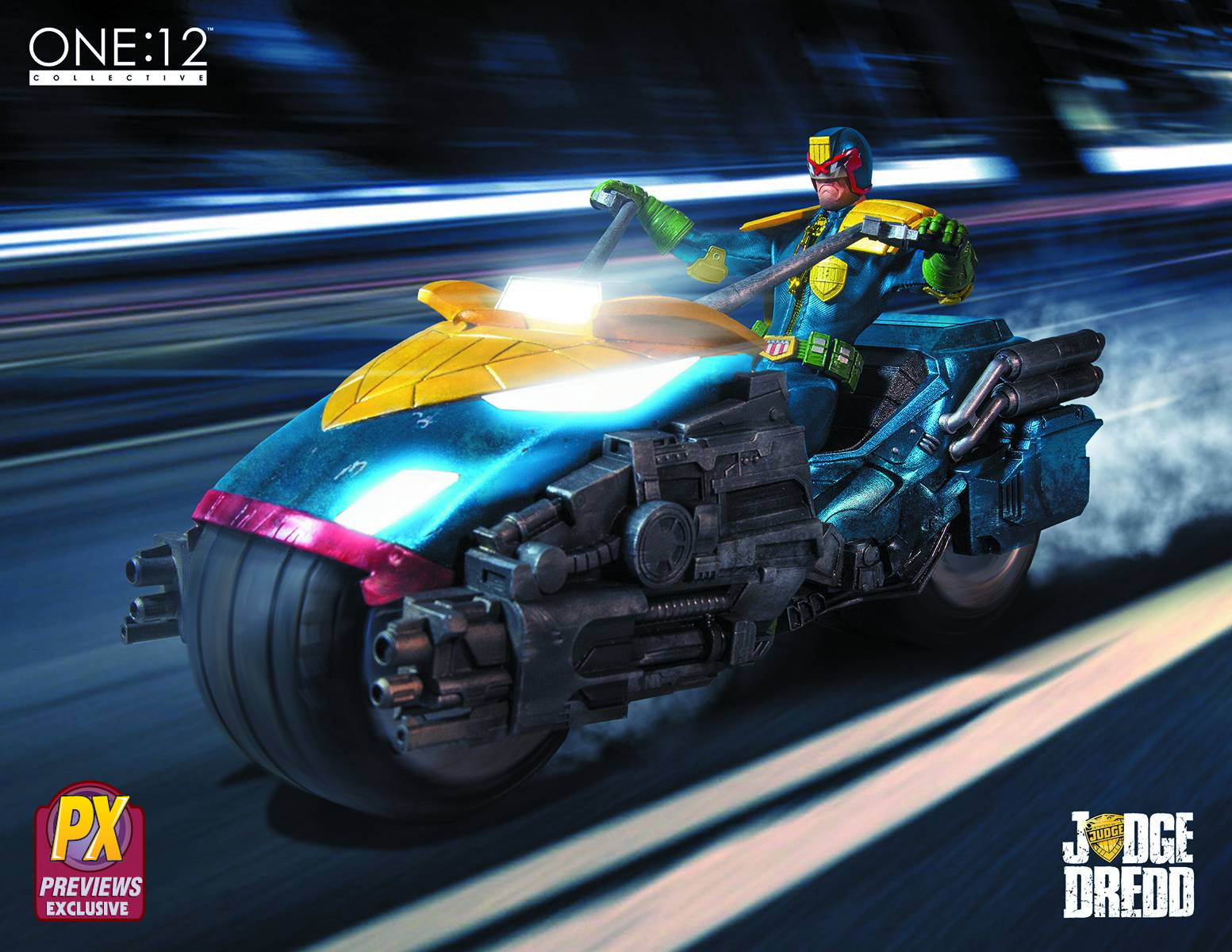 Mezco Toys PX One:12 Collective Judge Dredd and Lawmaster Bike Action Figure Box Set