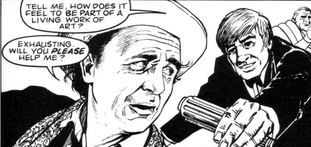 A panel from Sarirway to Heaven drawn by Gerry Dolan, inked by Rex Ward, published in Doctor Who Magazine Issue 156