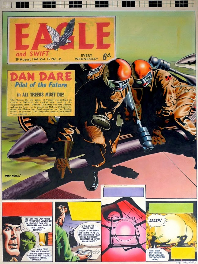 A page from David Motton's best-remembered Dan Dare tale, 'All Treens Must Die'.