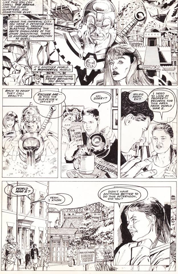 The original art for the fist page of Doctor Who: Evening's Empire. Note the amends to the lettering balloons. The strip appeared in Doctor Who Magazine Issue 180 and Richard happily acknowledges the first panel is a tribute to one of his all-time favourite artists, Don Lawrence.