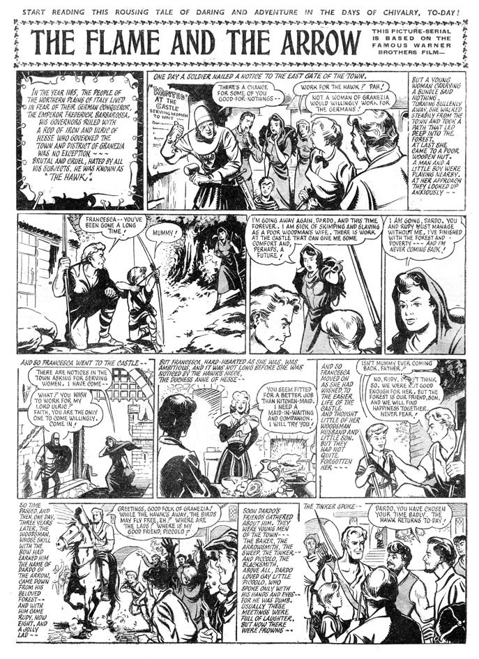 An adaptation of the film The Flame and the Arrow which was printed in Knockout in 1951, drawn by Ron Smith