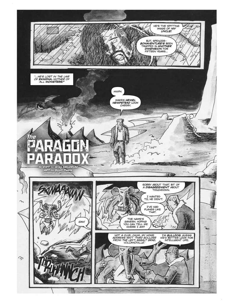 The Paragon Paradox, written by Greg Meldrum with art by Scott Twells, lettered by Jim Campbell