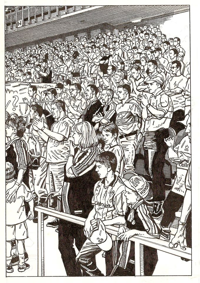 Richard Piers Rayner's very first drawing as Artist in Residence at the Boro: the early season crowd at the Riverside in 2000. Art © Richard Piers Rayner
