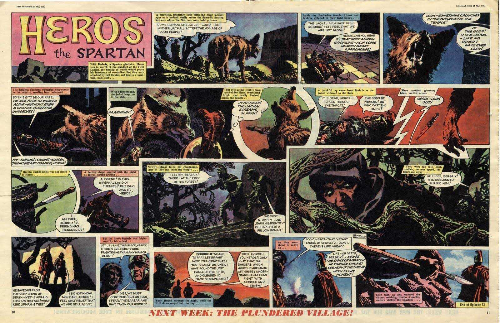 "Episode 12 of the Heros the Spartan story ""Eagle of the Fifth"", written by Tom Tully, drawn by Frank Bellamy"