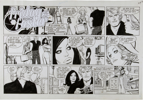 """An example of the """"Friday Foster"""" strip, created by writer Jim Lawrence, illustrated by artist Jorje Longeron, and syndicated by The Chicago Tribune Syndicate, which went from comic book to cult movie and more."""