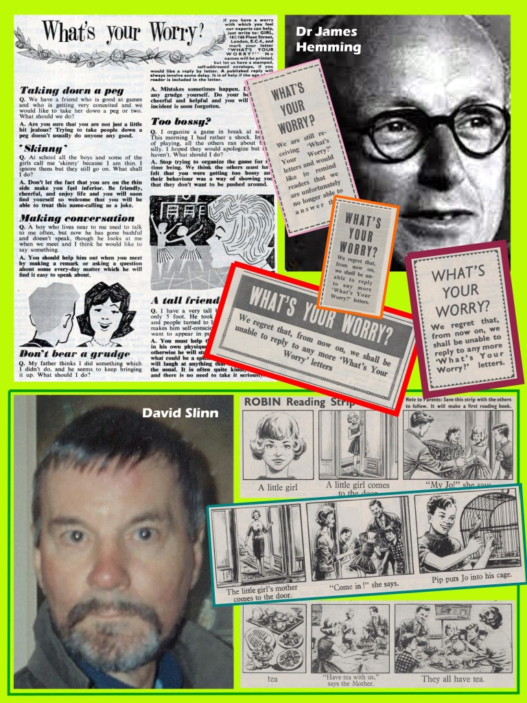 """Hemming, the final """"What's Your Worry"""" problem page and David Slinn's """"Reading"""" strip"""