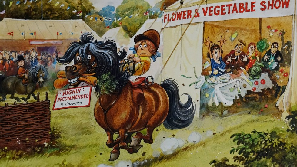 Thelwell is particularly famous for his cartoons of mischievous ponies