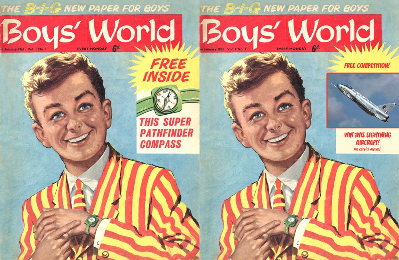 A re-imagining of Jim Kenner's possible cover for the first issue of Boys' World, alongside the actual cover (left), had Jim Kenner had his way...
