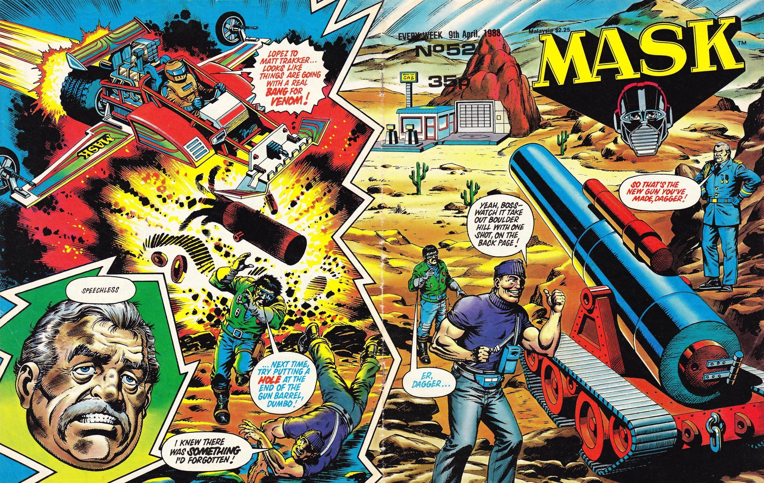 The wraparound cover for MASK Issue 52. These wraparounds were something of a staple for the weekly comic