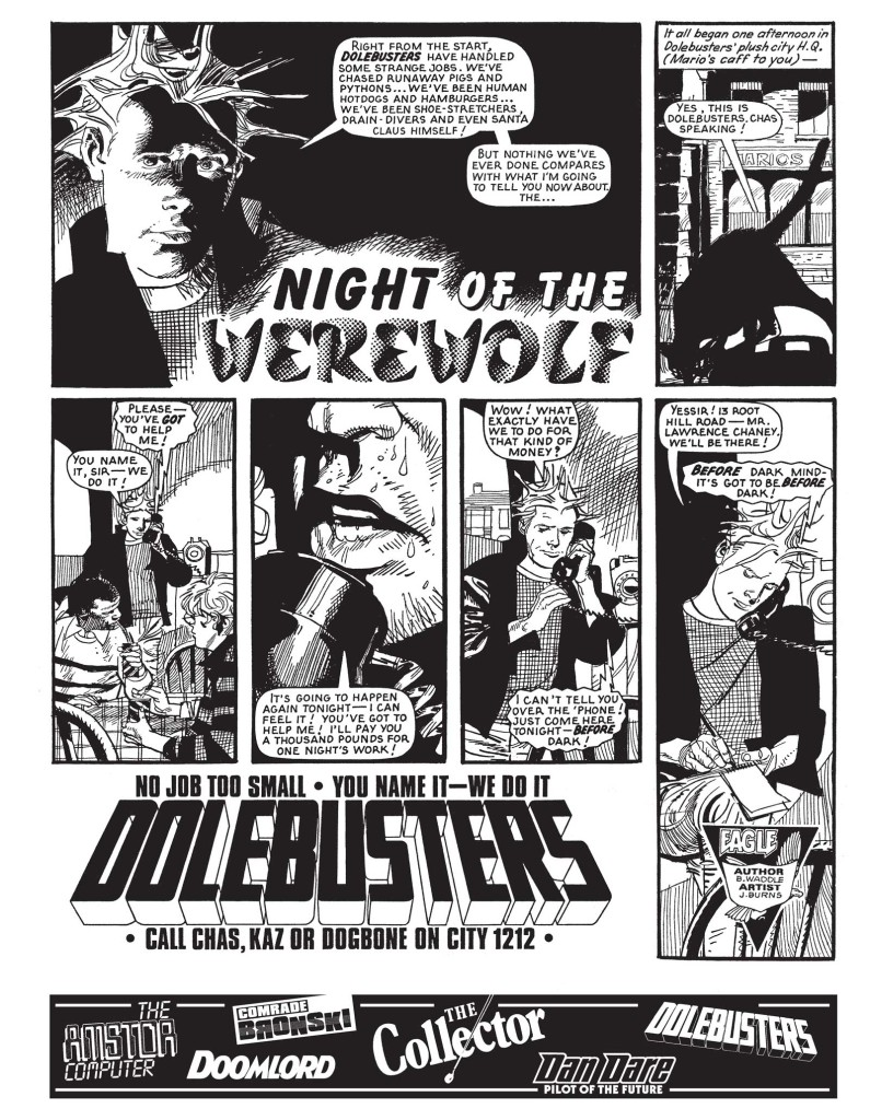 """Dolebusters: Night of the Werewolf"", written by John Wagner, drawn by John Burns"