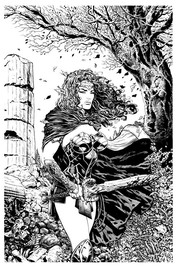 """An early test piece for the new look Wonder Woman drawn by Liam Sharp. """"It's not quite right, but it's getting there! """" says Liam. Wonder Woman © DC"""