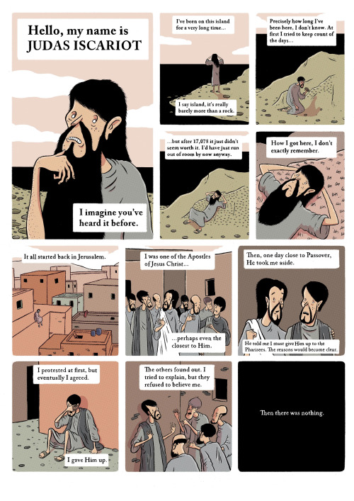 """A page from """"Hello, My Name is Judas Iscariot"""" by Matthew Dooley, which was shortlisted for the Comica prize. You can read the whole strip here: http://ballwatching.tumblr.com/post/100985938628/my-name-is-judas-iscariot-my-entry-for-this"""