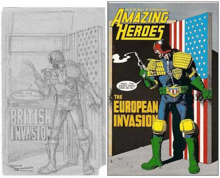 """Brian Bolland's Pencils and the final cover for Amazing Heroes #52, the pencils declaring a """"British Invasion"""" of US comics"""