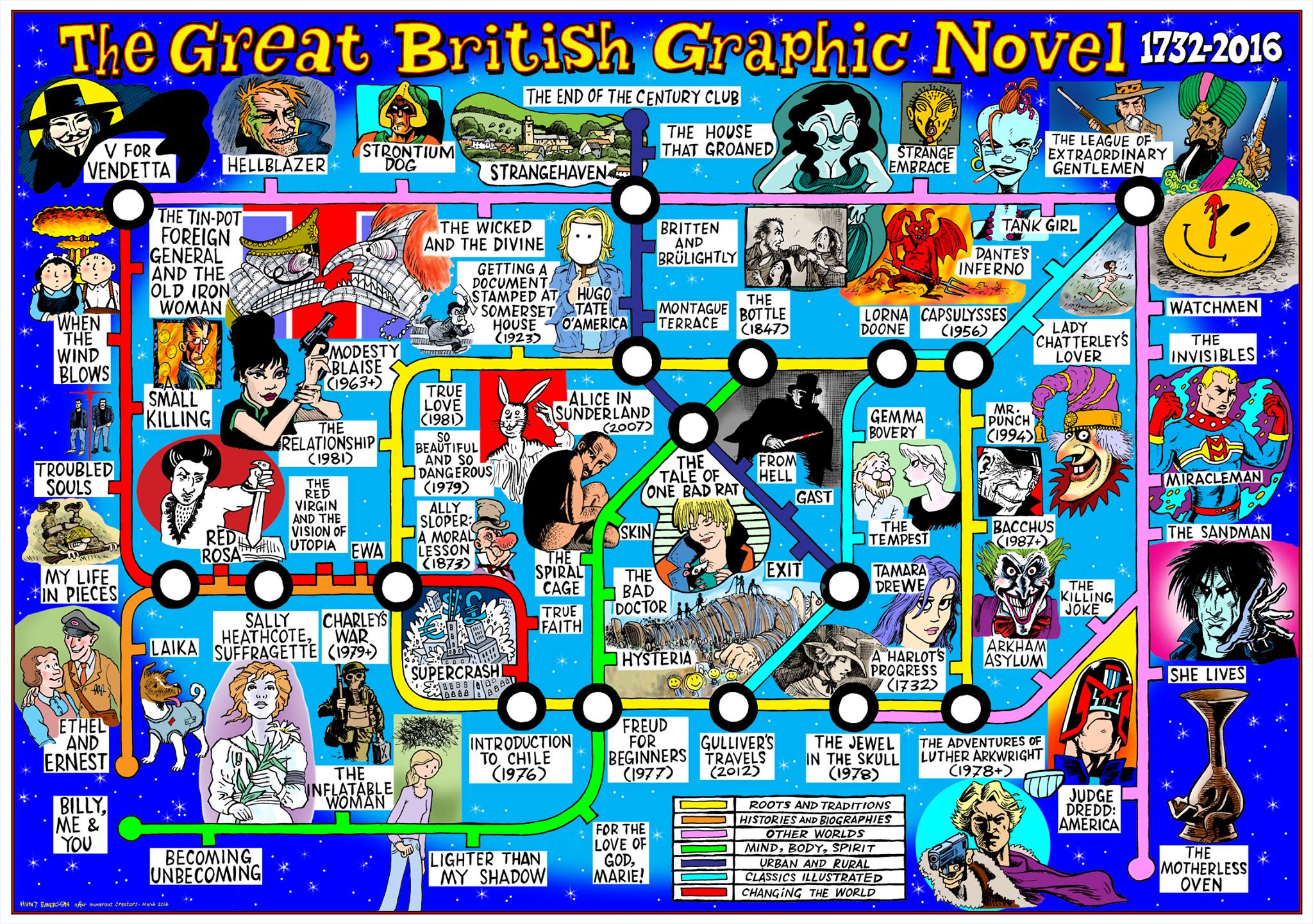 "Great British Graphic Novel ""Tube Map"" by Hunt Emerson"