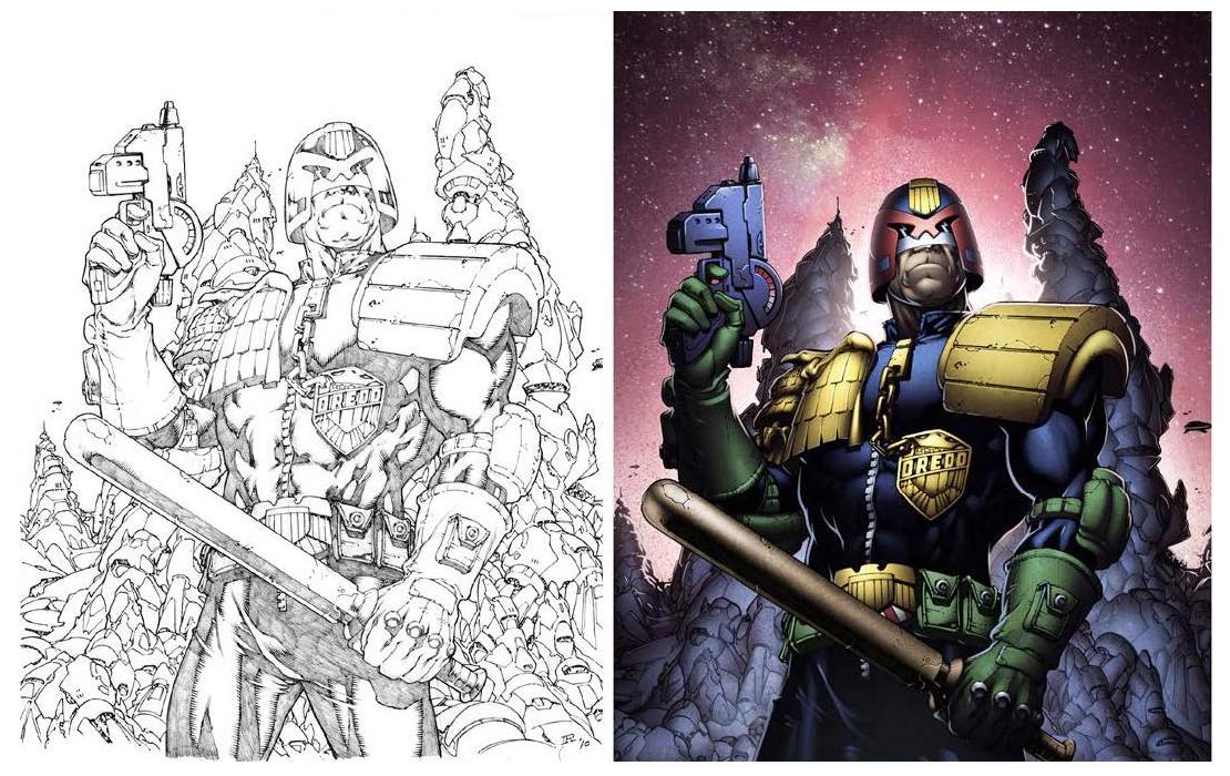 Judge Dredd Pencils by Ian Richardson; and final art. Judge Dredd © 2000AD