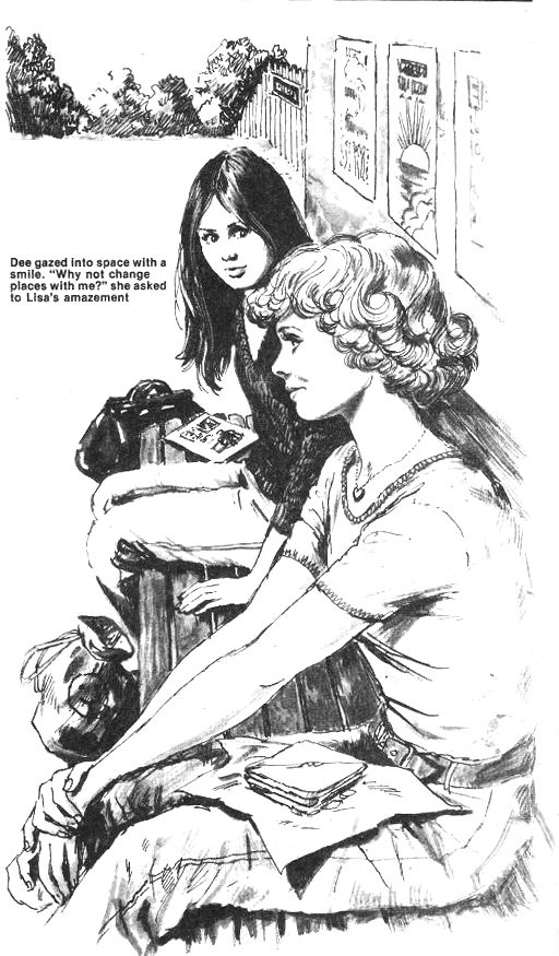 """An illustration for a text story, """"Masquerade"""", published in the 1979 Jinty Special"""