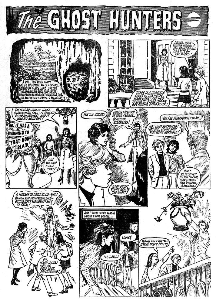 """A page from an episode of """"The Ghost Hunters"""" from an issue of Sally, published in 1971, drawn by Shirley Bellwood."""