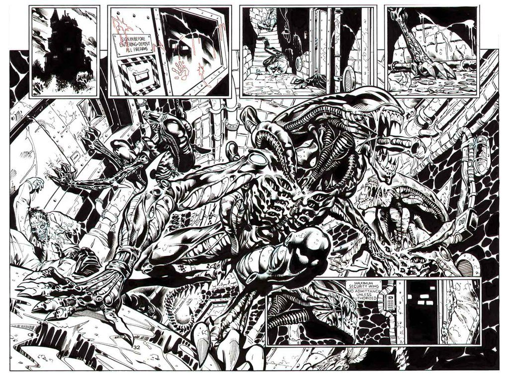 The Aliens get into Arkham Asylum in Batman vs. Aliens #2. Pencils by Staz Johnson, inks by James Hodgkins.
