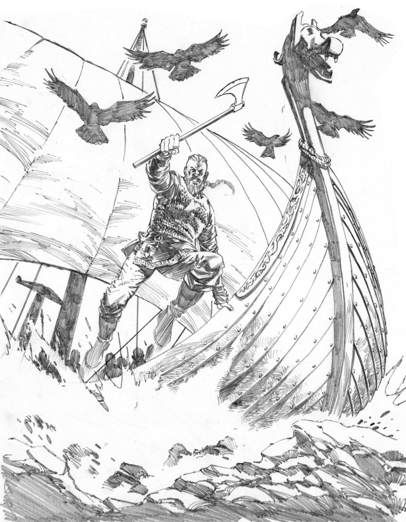 Pencils for the cover of Titan Comics Vikings #2, which is being written by Cavan Scott, strip pages also by Staz.