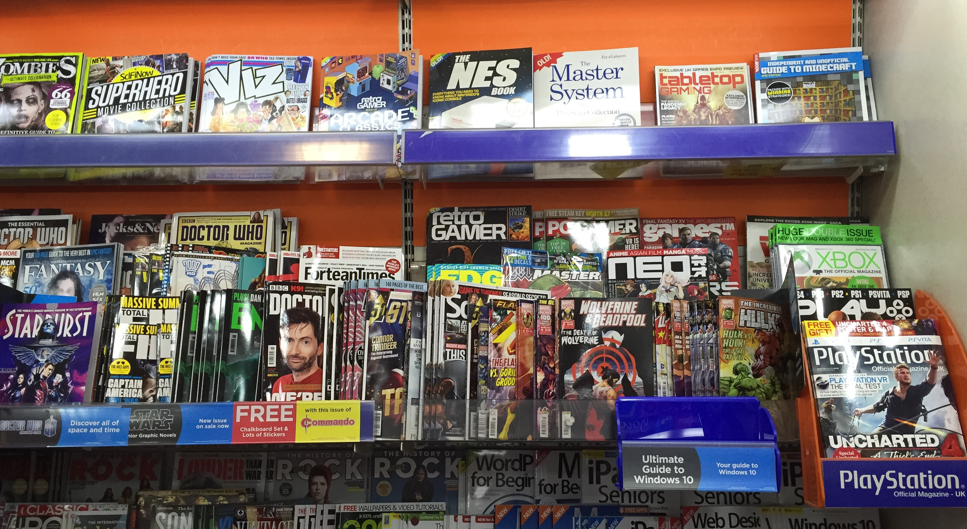 WH Smiths Lancaster's 'teen title' section, which includes 2000AD, Panini and Titan's superhero titles and Commando