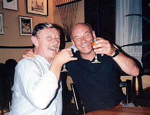 Scot Goodall and fellow comics writer Angus Allan in 1985.