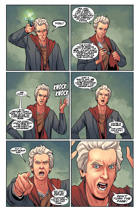 The opening page from Doctor Who: The Twelfth Doctor Year Two #5. You have been warned... don't turn the page!