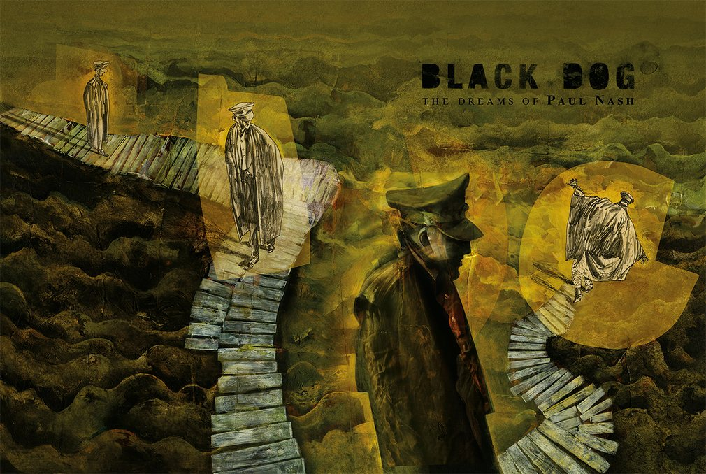 "Artist Paul Nash in the trenches. Art from ""Black Dog"" © Dave McKean"