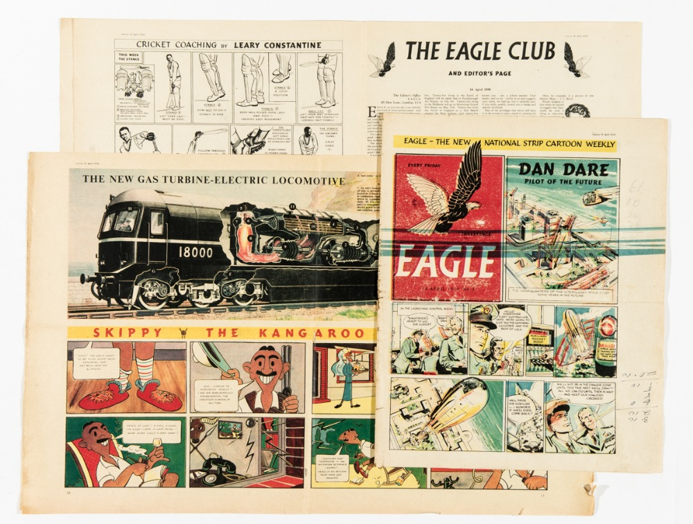 Eagle Vol 1 No 1 (1950) Pre-publication proof. This printer's proof copy was run off at Sun Printers in Watford to check registration and colour balance of the comic before main production of the Eagle was started by Eric Bemrose in Liverpool who had installed a new Rotogravure print-line for this purpose. As such this Sun Printers copy is a rarity; it is worn and untrimmed with roller marks and cost notes to the cover margin