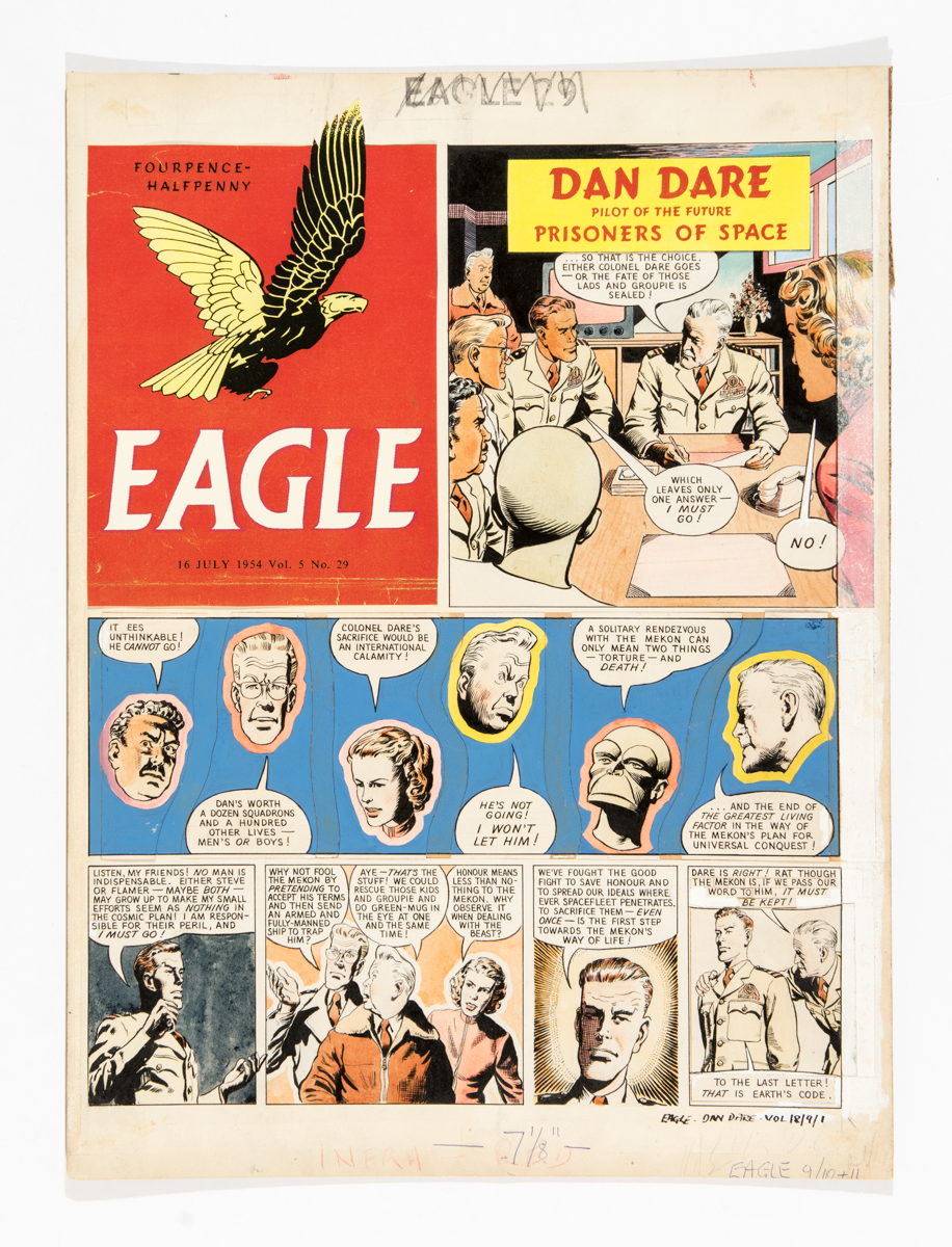 Dan Dare original front cover artwork by Desmond Walduck from The Eagle (1954) Vol 5: No 29. Dan Dare must challenge The Mekon to save Groupie and Flamer - The Prisoners of Space.