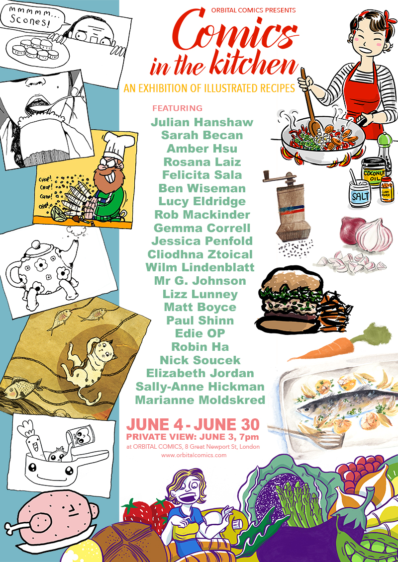Comics in the Kitchen Exhibition - Orbital Comics, June 2016