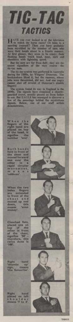 "Derek Pierson demonstrates ""Tote"" hand signals in a feature for Eagle Volume 17 Number 4, cover dated 22nd January 1966"