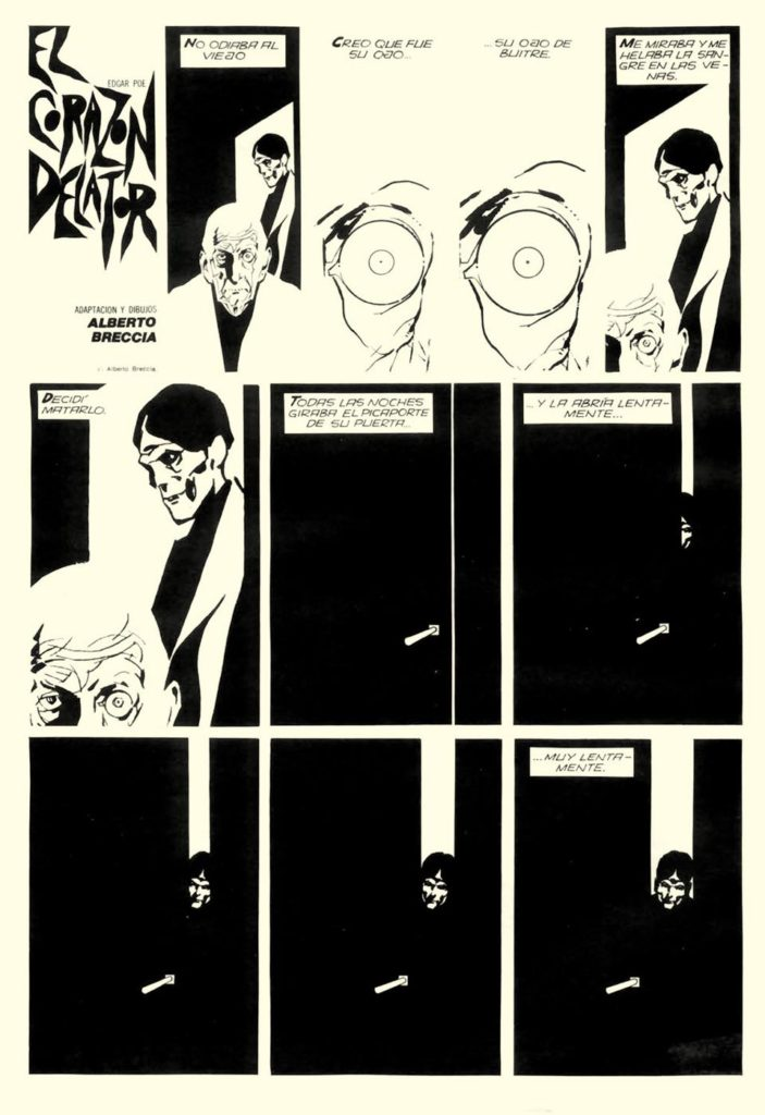 "A page from Alberto Breccia's distinctive 1977 adaptation of Edgar Allan Poe's story ""Tell Tale Heart"""
