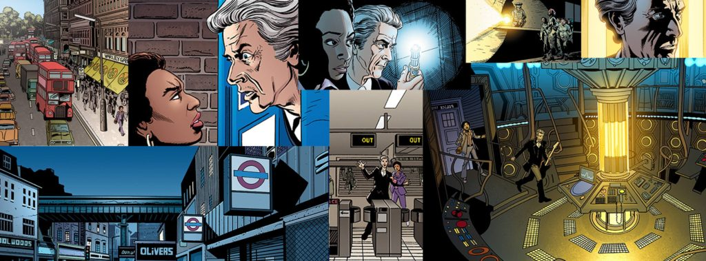 """Scenes from """"The Pestilent Heart"""" Part One from Doctor Who Magazine Issue 501. Montage by Mike Collins"""