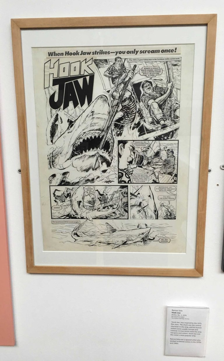 "The first page of the first episode of the Action strip ""Hook Jaw"", art by Ramon Sola"
