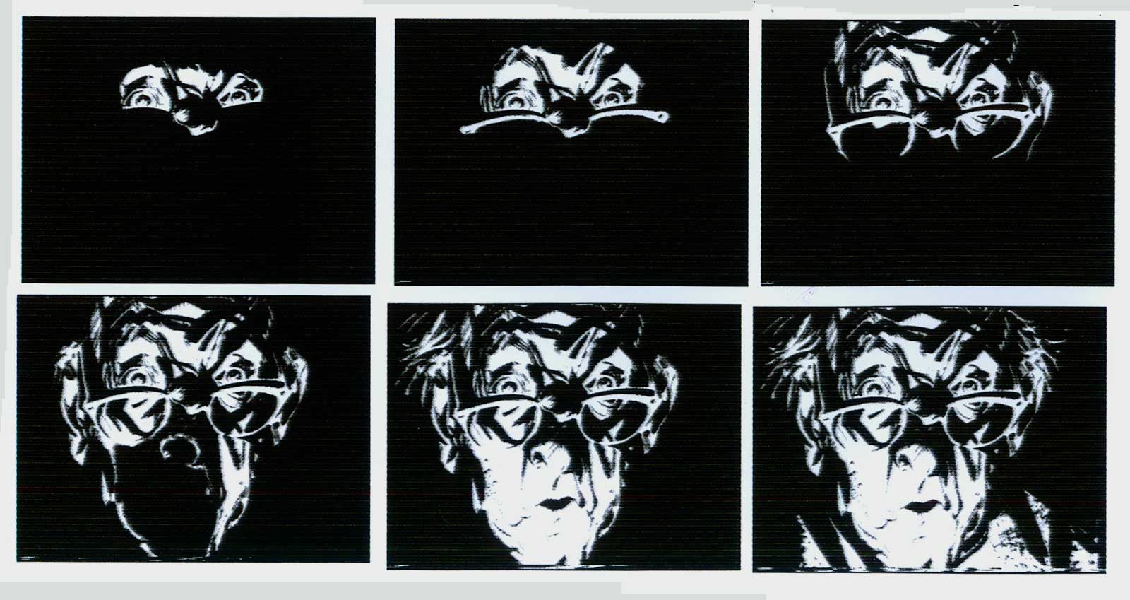 "These frames featuring ""Mort Cinder"" are taken from the film Breccia: Maestro de fas Historiestas, in which some of his techniques were demonstrated for the camera, show clearly his use of razor blades to carve out white areas from a prepared black surface."