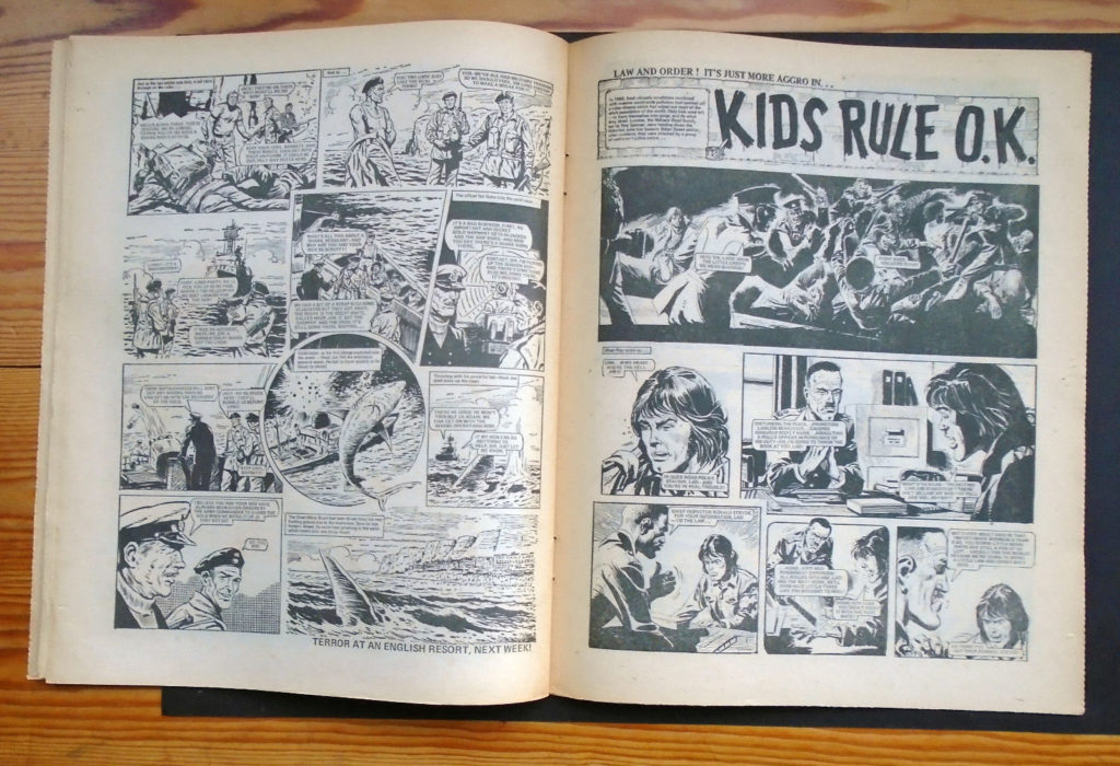 """The third page of Hook Jaw and the opening page of """"Kid Rule OK"""" from the copy of Action 37 sold on eBay in 2016"""