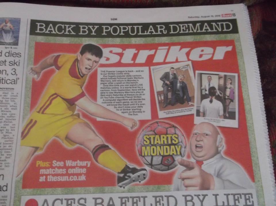 Striker Returns to The Sun