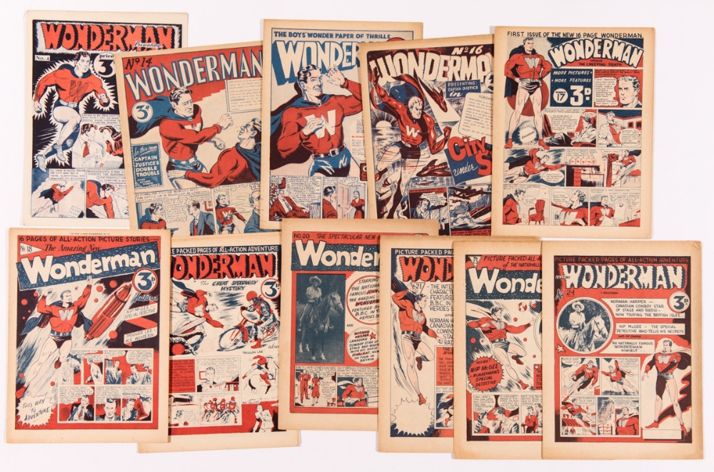 Wonderman (1948) 4, 14-21, 23, 24 (last issue). Paget Publications. Starring Mick Anglo's first super-hero character, Wonderman. NB whilst issue No 4 has turned up more often, the balance issues are genuinely rare. From the Bob Monkhouse Comics archive